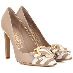 Salvatore Ferragamo Ezia 100 Patent Leather Pumps (51180 DZD) ❤ liked on Polyvore featuring shoes, pumps, heels, beige, high-heel, salvatore ferragamo pumps, heel pump, beige patent leather pumps, beige high heel pumps and beige patent shoes