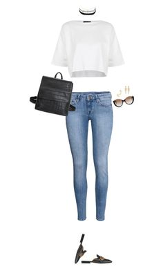 """How to Style a Black Choker with a White Crop Top Denim Jeans and Black Loafers"" by outfitsfortravel ❤ liked on Polyvore featuring Topshop, Gucci, H&M, Cutler and Gross, Charlotte Russe, Maison Margiela and Stephen Webster"