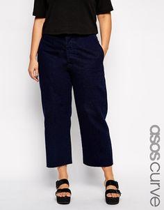 Ingrandisci ASOS CURVE - Jeans indaco a vita alta con fondo ampio e fibbia