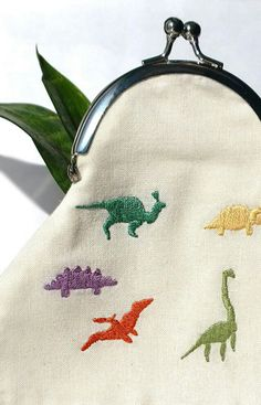 dinosaur embroidered coin purse