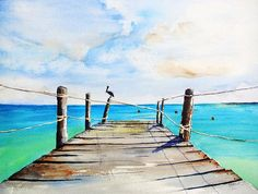 Top of Old Pier on Playa Paraiso watercolor painting by Carlin Blahnik. A picturesque old pier on Playa Paraiso Mexico. The worn wood planks and rope rails lead to the sea. A pelican sits on the end post, watching the tropical waters for fish. This pier has so much character I was inspired to paint if from different views. I have another painting looking at this pier from the below on the beach. http://www.carlinart.com/