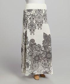 Black & White Paisley Sublimation Maxi Skirt - Plus