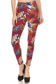 Red paisley leggings?! A blue sweater would make this a classy winter leggings outfit for teachers.