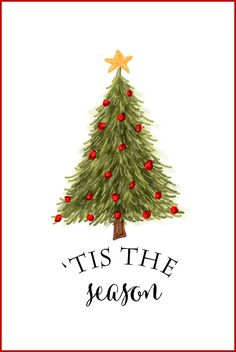 Free Christmas Printables | Tis the Season | Use for DIY Wall Art, Crafts, Cards and more!