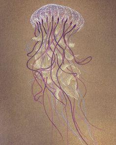 New!! 🐡 Mis últimas ilustraciones de animales ya están en la web. Espero que os gusten :) 50x70cm Lápiz de color y tinta plateada sobre papel  #medusa #jellyfish #animal #drawing #dibujo #illustration #ilustracion #art #arte #japan #inspire #oriental #creative #originalwork #artwork #paperart #artist #elisaancori