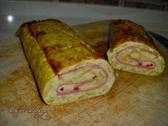 Tarta de calabaza: Rollo de tortilla de patata con jamón, queso y pimiento