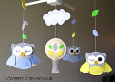 Owls Baby Crib Mobile by LOVEFELT CREATIONS