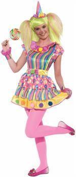 ToyHo.com - Polkadot Clown Costume Dress Teen