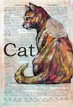 Cat Mixed Media Drawing on Distressed, Dictionary Page - flying shoes art studio