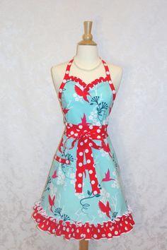 Hummingbird Flirty Skirty Sweetheart Apron in by bernicesdesigns, $35.00