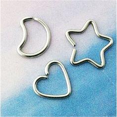 Exclusive Daith MOON Heart & Star Piercing/Fake piercing set, steel, 16gauge, original design by PrimaPiercings on Etsy