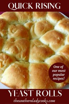 Delicious bread recipe that is wonderful anytime or for any holiday or event. The post QUICK RISING YEAST ROLLS appeared first on Dessert Platinum. Tasty Bread Recipe, Yeast Bread Recipes, Quick Bread Recipes, Easy Bread, Biscuit Recipe, Keto Recipes, Seafood Recipes, Recipes With Yeast, Flour Recipes