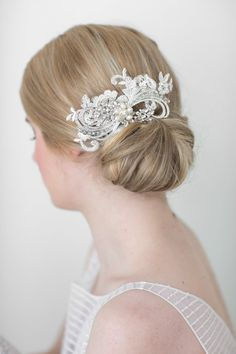 Bridal Hair comb Freshwater Pearl and by PowderBlueBijoux on Etsy