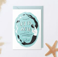 Mermaid Save the Date Card - Beach Save The Date by LucyLovesPaper https://www.etsy.com/listing/218835625