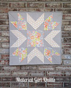 Mini starflower quilt using Bonnie Christine's Sweet As Honey line