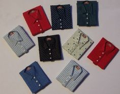 Men's Shirt - Butterfly Dreams Miniatures how to make men's shirts and these have a neck label too!  Well done!