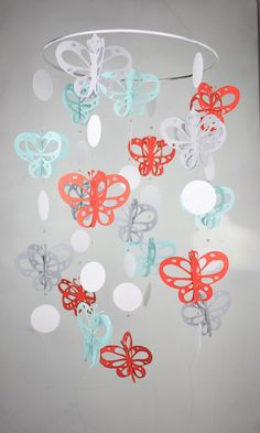 Coral Aqua Grey White Butterfly Baby Mobile by TheWhimsyBoutique, $55.00