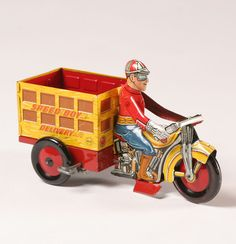 Marx Key Wind Tin Litho Speed Boy Delivery Cycle