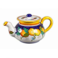 Daphne Teapot - handmade and hand painted in Deruta, Italy, this beautiful teapot will brighten your morning or afternoon teatime! Made in Italy but sold at the Italian Pottery Outlet in Santa Barbara, CA.