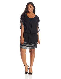 S.L. Fashions Women's Plus-Size Foil-Trimmed Blouson Dress * Review more details here : Dresses for women