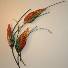 Three Leaves Fused Glass and Metal Wall Art by Bonnie M. Hinz