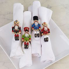 perhaps even better than the napkins as far as nutcracker Christmas decor goes UPDATE: bought these, they are super cute Mais Nutcracker Christmas, Noel Christmas, All Things Christmas, Nordic Christmas, Modern Christmas, Decoration Christmas, Xmas Decorations, Christmas Themes, Christmas Napkin Rings