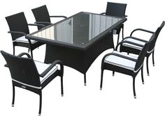 Roma Stacking Chairs and Rectangular Dining Table Set - Black