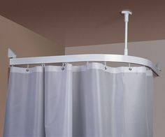 Pictures of the Curtain Hung to Ceiling | Shower Curtain Ceiling Track  System - shows curve
