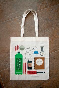 'Essentials' Tote Bag by Dave Mullen Jnr, via Behance.... Draw your essentials sketchbook idea