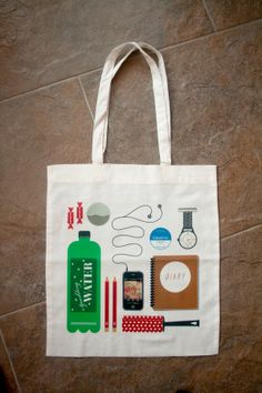 'Essentials' Tote Bag by Dave Mullen Jnr, via Behance.... Draw your essentials sketchbook idea