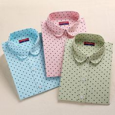 Brand New Donne del Cotone Camicie A Maniche Lunghe Camicetta Polka Dot Blusas Femininas 5XL Plus Size Turn Down Collar Donna Top 2016