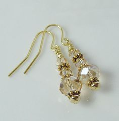 Stunning Swarovski Crystal Golden Shadow Earrings