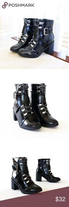 """random-black-booties-ankle boots Style               :  Booties, Ankle boots Heel Height    : 3"""" Main Color      :  Black Main Material  :  Patent Leather like upper with Synthetic sole Shaft Height    : Approx. 6 1/4"""" Fit                    :Slightly small to Size Lace up (Adjustable) Side zip Buckle and Strap Silver buckle and lace hold rings Faux stacked heel cityclassified Shoes Ankle Boots & Booties"""