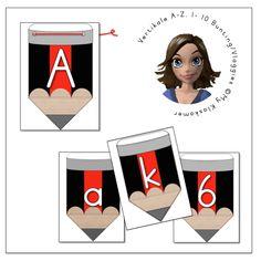 Vertikale A – Z, 0 – 10 Bunting / Vlaggies Lettertipe soos in prentjie (- soos in die Wes-Kaap gebruik word, bv. geronde y)