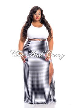 67615276dc8 New Arrival New Plus Size Maxi Dress in Black and White Top and Stripe  Bottom with