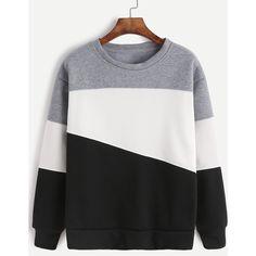 Light Grey Contrast Casual Sweatshirt ($13) ❤ liked on Polyvore featuring tops, hoodies, sweatshirts, grey, polyester sweatshirt, stretch top, long sleeve tops, grey sweatshirt and grey long sleeve top