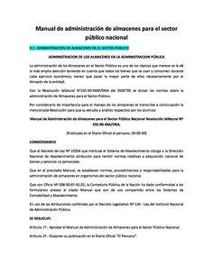 Manual de administración de almacenes para el sector público nacional 9.1. ADMINISTRACIÓN DE ALMACENES EN EL SECTOR PÚBLICO ADMINISTRACION DE LOS ALMACENES EN LA ADMINISTRACION…