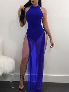 ae241bceb18bf7 Sexy Backless Side Split Halter Maxi Romper Dress (S M L XL