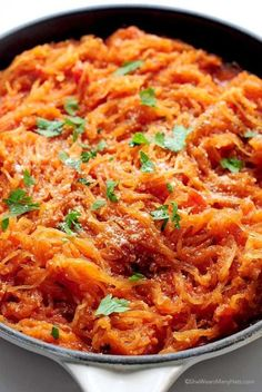 The hearty and robust flavors of marinara sauce go well with nutrient-rich spaghetti squash. The subtle crunchiness of the squash also adds an interesting texture you wouldn't get from pasta noodles. Get the recipe at She Wears Many Hats.