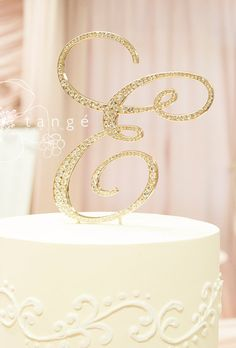 Initial GOLD Metal Rhinestone Cake Toppers in Elegant Script Letter Style with the Fine Set-In Stones