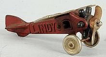 Rare Cast Iron North & Judd Lindy Airplane Toy.
