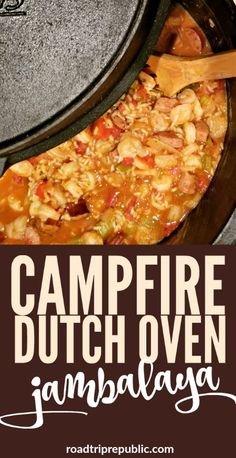 Dutch Oven Recipes - Campfire Dutch Oven Jambalaya - Easy Ideas for Cooking in Dutch Ovens - Soups, Stews, Chicken Dishes, One Pot Meals and Recipe Ideas to Slow Cook for Easy Weeknight Meals Dutch Oven Chicken, Oven Chicken Recipes, Camping Dishes, Camping Meals, Camping Recipes, Backpacking Food, Camping Gadgets, Camping Cooking, Camping Hacks