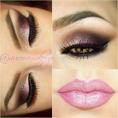 Soft Dark Purple and Black with White Glitter Smokey Eye Makeup - Winged Cat Eyeliner - Lashes - Perfect Light Pink Lips Gorgeous Makeup, Pretty Makeup, Love Makeup, Makeup Looks, Sweet Makeup, Romantic Makeup, Beautiful Lips, Dress Makeup, Makeup Geek