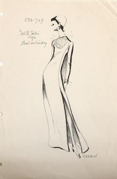 1960s Pierre Cardin Fashion Sketch