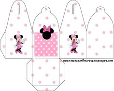 Cajitas para imprimir gratis de Minnie Mouse en fondo rosa.