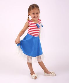 Look what I found on #zulily! Turquoise & Coral Stripe Taffeta Dress - Toddler & Girls by Mia Belle Baby #zulilyfinds