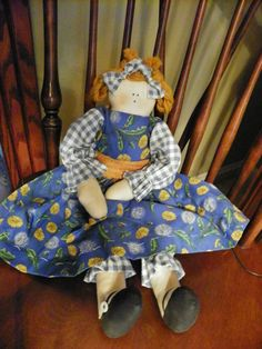 Cloth Country doll in Blue dandelion dress with Dark by AFrogsKiss