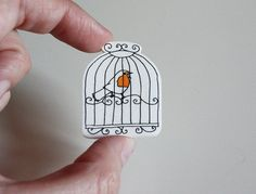 bird in a cage Etsy brooch by memorieswarehouse on Etsy