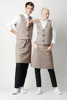Details * Bistro apron with two front pockets. Cafe Uniform, Waiter Uniform, Hotel Uniform, Kellner Uniform, Waitress Outfit, Housekeeping Uniform, Restaurant Uniforms, Work Uniforms, Uniform Design