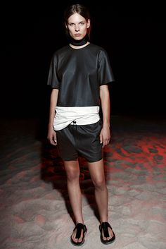 T by Alexander Wang | Resort 2015 | 05 Monochrome leather short sleeve top and shorts